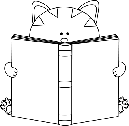 450x440 Black And White Cat Reading A Book Clip Art