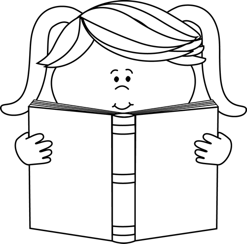 500x493 Black And White Little Girl Reading A Book Clip Art