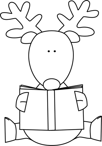 350x500 Black And White Reindeer Reading A Book Clip Art