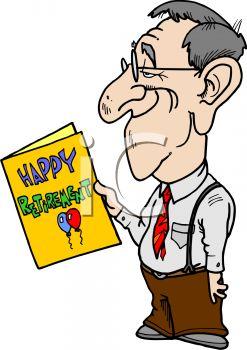 247x350 Cartoon Man Reading A Retirement Card
