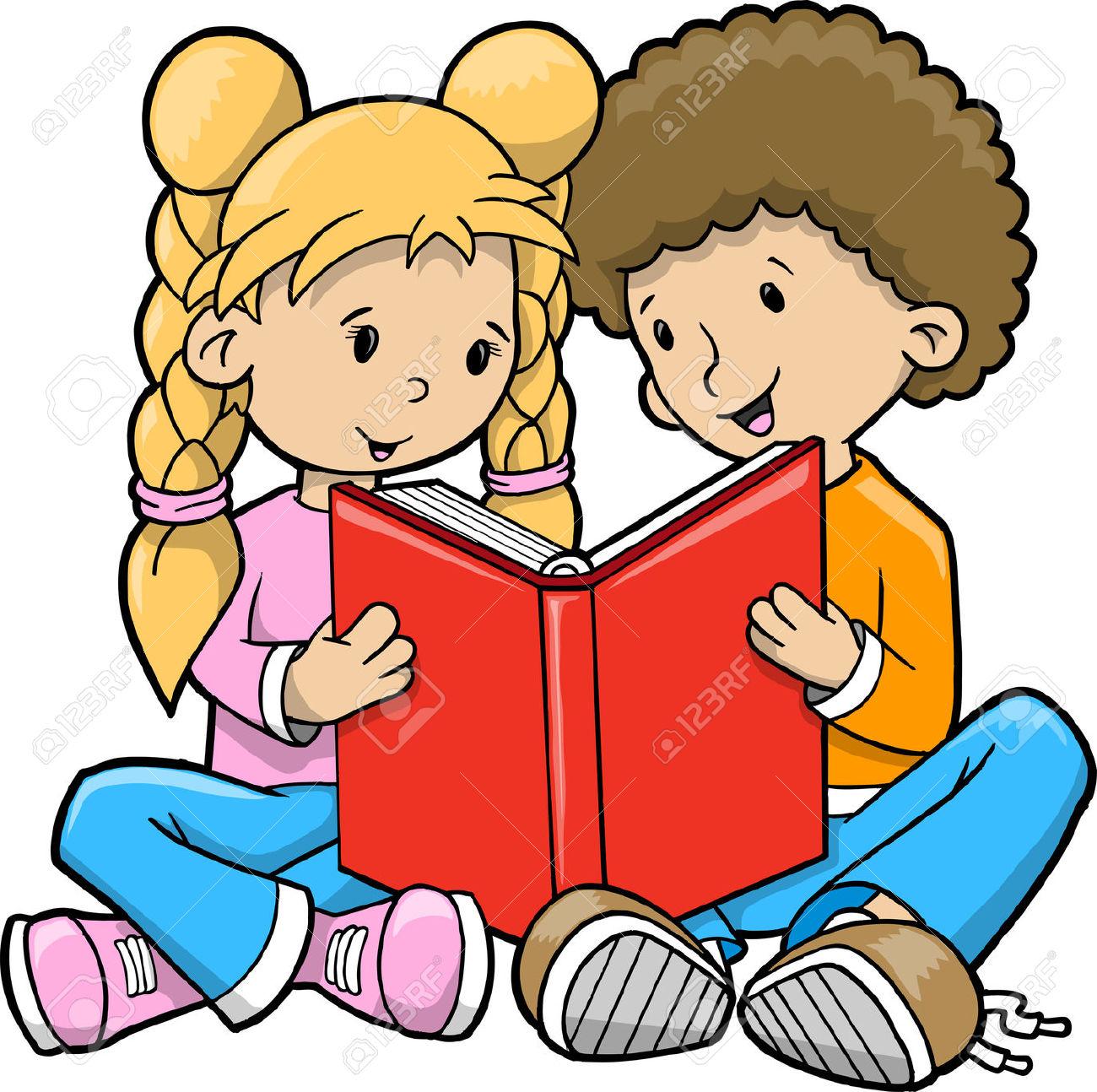 1300x1294 Cute Kids Reading Clipart