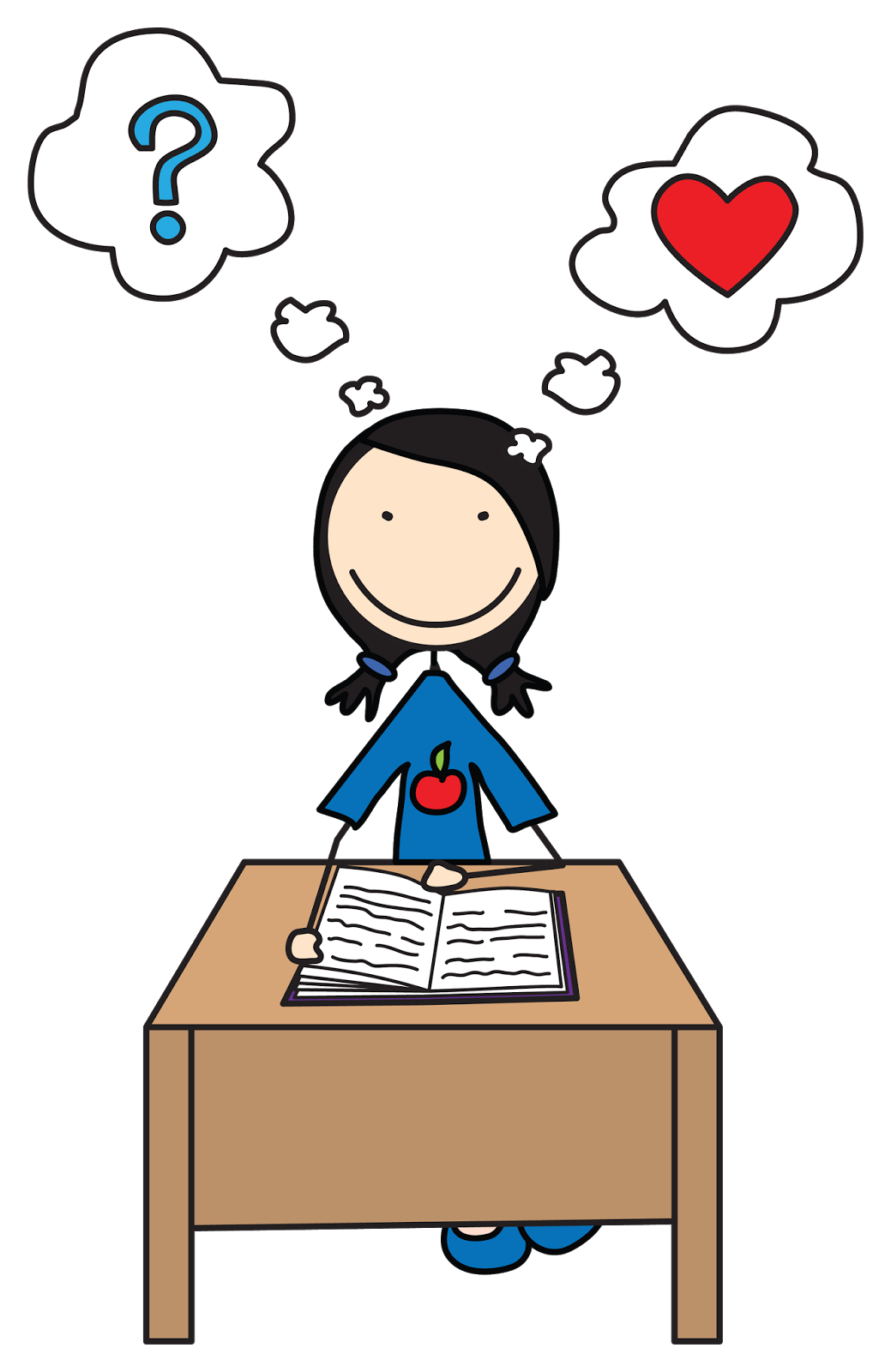 1039x1600 Girl Reading Thinking Clipart