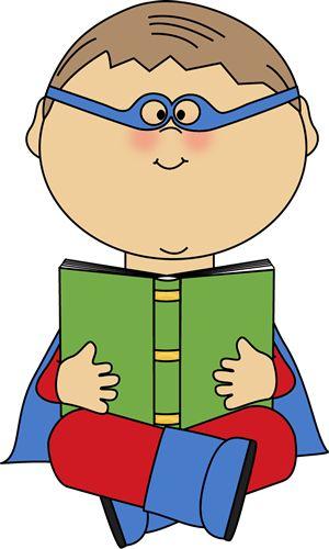 300x500 Superhero Reading Clipart