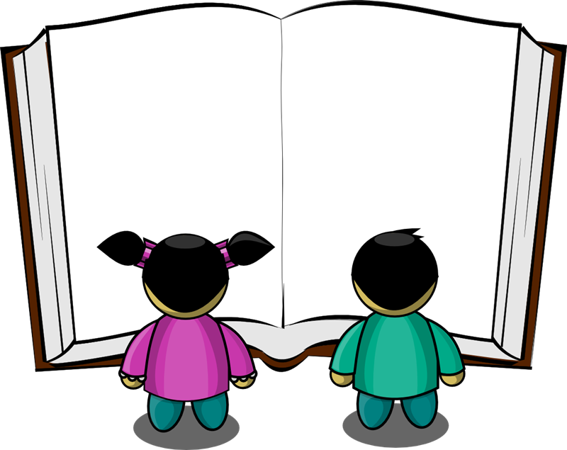 800x635 Two Kids Reading Clipart