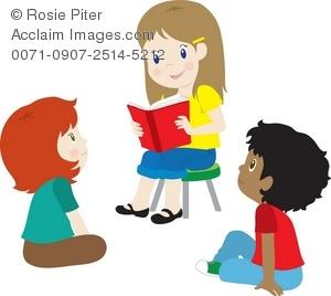 300x268 Art Illustration Of A Little Girl Reading To Other Children
