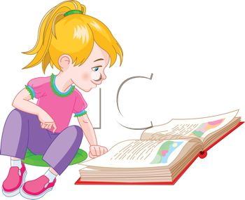 350x285 Royalty Free Clipart Image Cute Little Girl Reading A Storybook