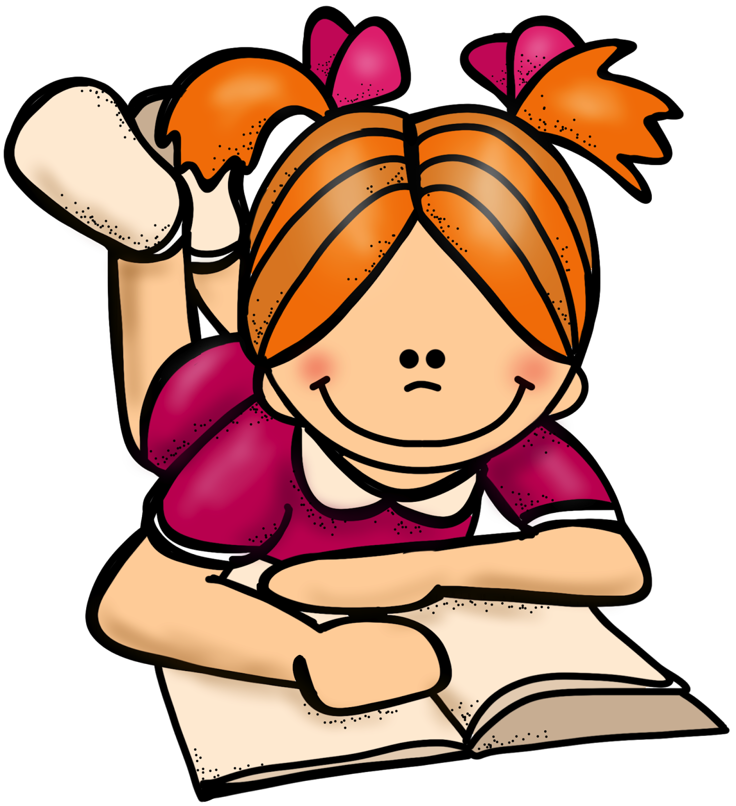 1462x1600 Student Reading Clipart
