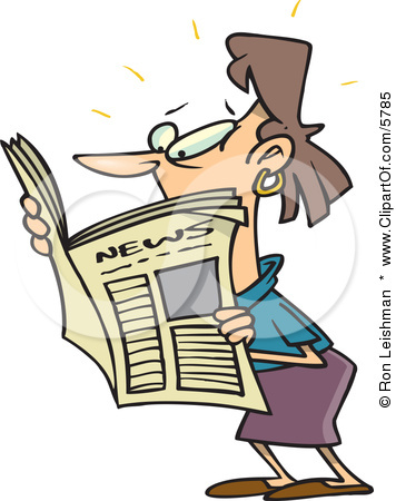 356x450 Woman Reading Newspaper Clipart