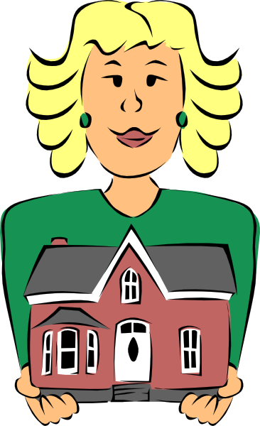 366x600 Real Estate Agent Holding House Clip Art
