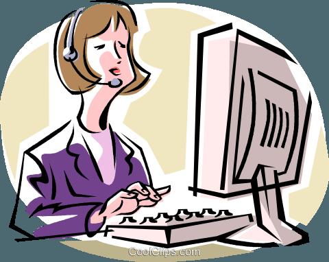 480x382 Receptionist Royalty Free Vector Clip Art Illustration Vc010000