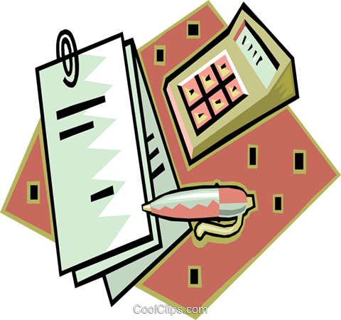 480x450 Calculator With Financial Records Royalty Free Vector Clip Art