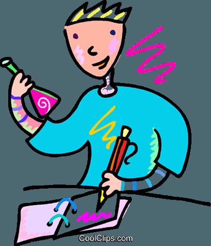 411x480 Man Recording His Scientific Results Royalty Free Vector Clip Art