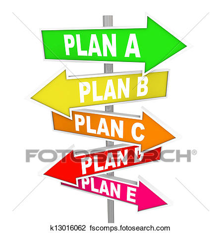 446x470 Clip Art Of Many Plans Rethinking Strategy Plan A B C Signs