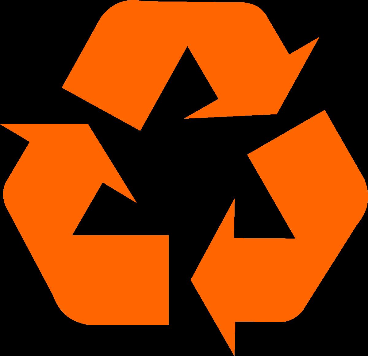 1200x1161 Orange Universal Recycling Symbol Logo Sign