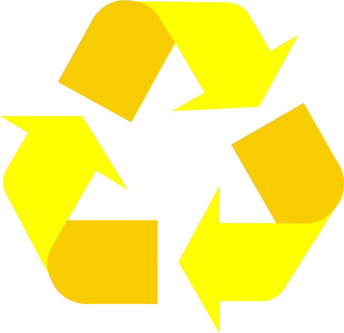 1200x1161 Yellow Universal Recycling Symbol Logo Sign