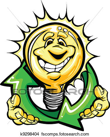 375x470 Clipart Of Cartoon Light Bulb With Smiling Face Holiding Recycling