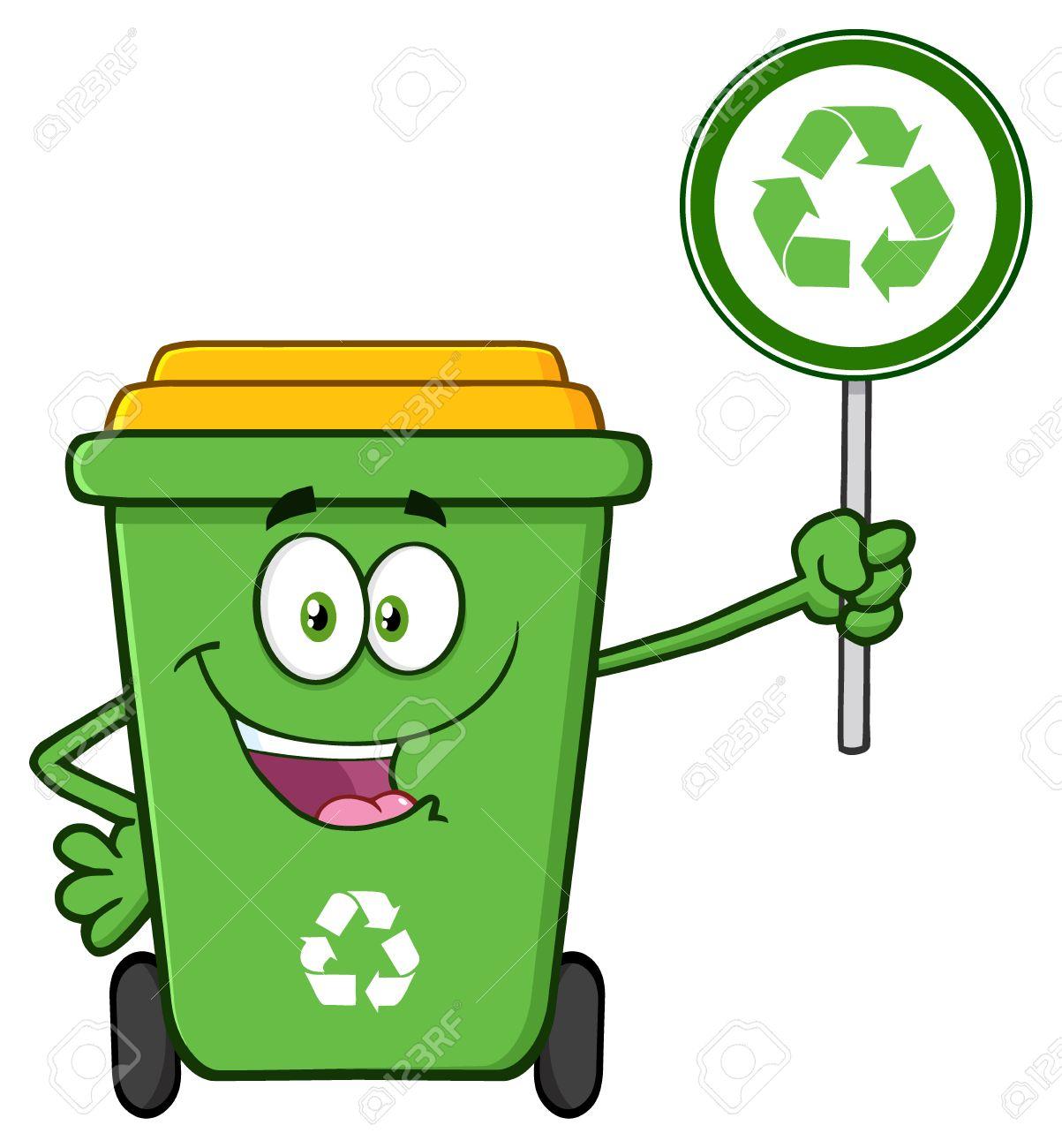 1203x1300 Cute Green Recycle Bin Cartoon Mascot Character Holding A Recycle