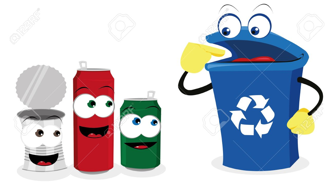 1300x747 A Vector Cartoon Representing A Funny Recycling Bin And Some