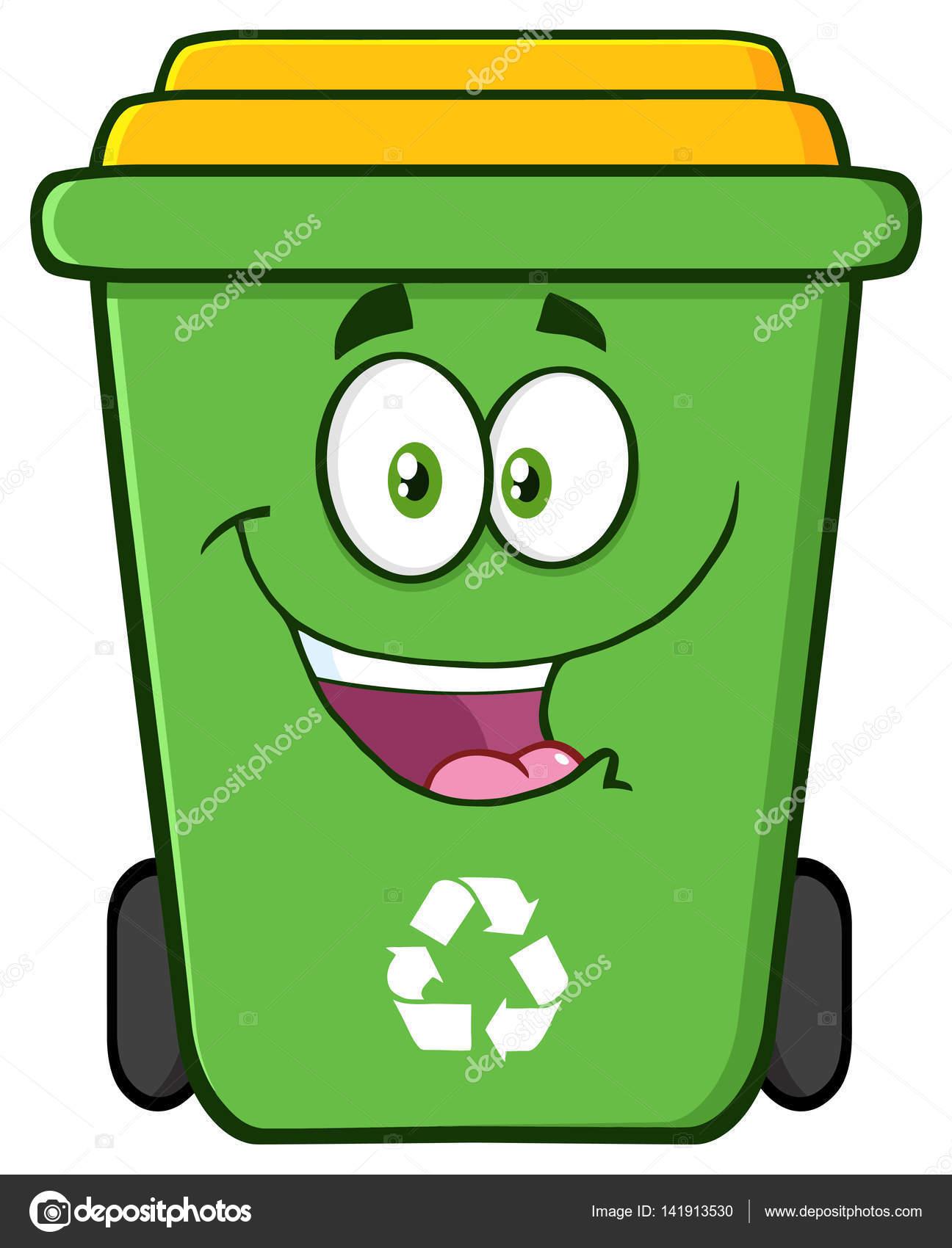 1296x1700 Happy Green Recycle Bin Cartoon Stock Vector Hittoon