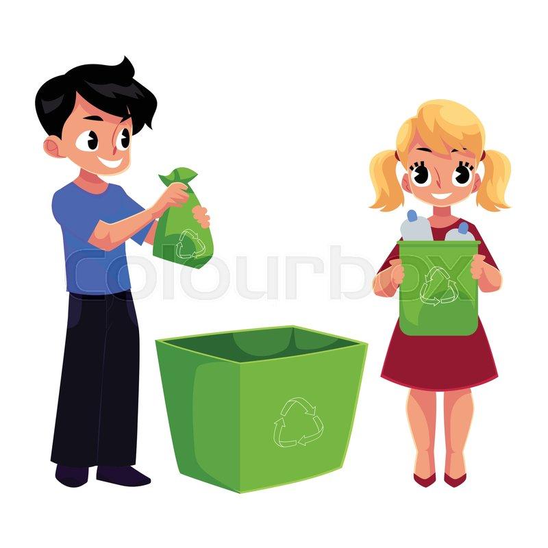 800x800 Kids, Boy And Girl, Throw Plastic Bottles In Trash, Garbage