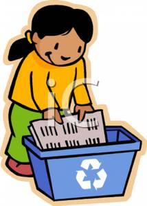 214x300 Of A Girl Putting Newspapers In A Recycling Bin