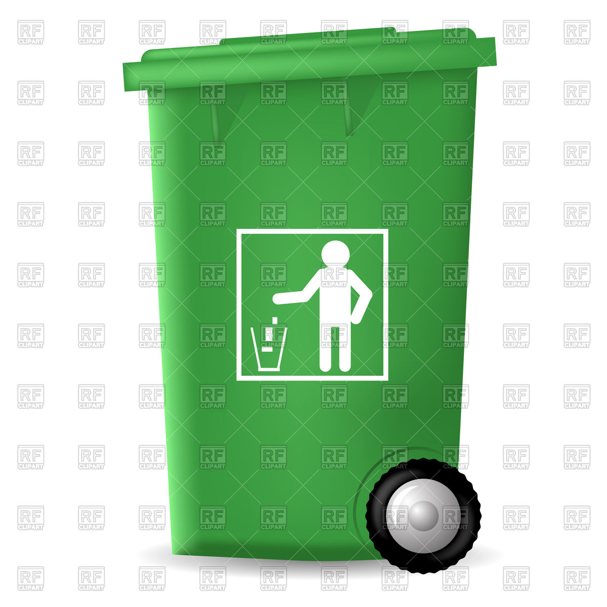 1200x1200 Green Plastic Trashcan Icon Royalty Free Vector Clip Art Image