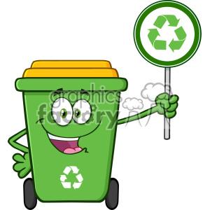300x300 Royalty Free Cute Green Recycle Bin Cartoon Mascot Character