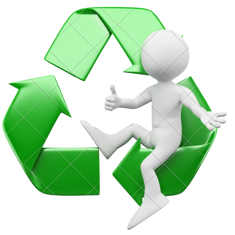 800x800 3d Man Sitting In The Recycling Symbol