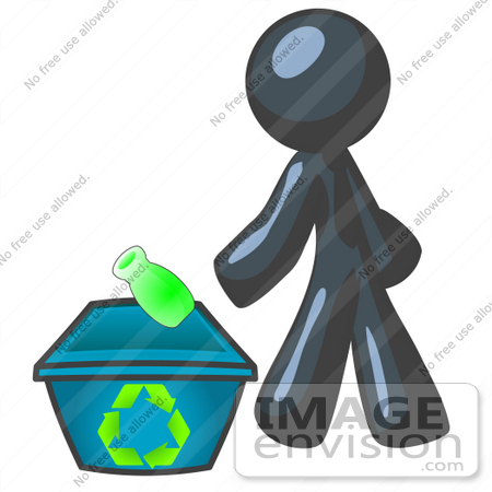 450x450 Clip Art Graphic Of A Dark Blue Guy Character Recycling