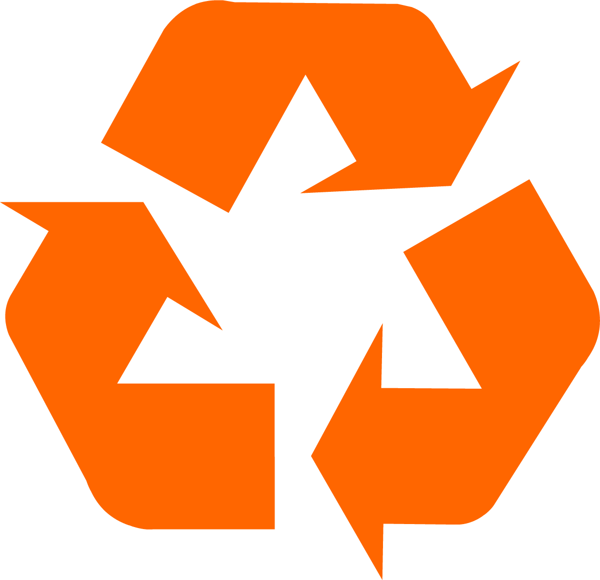 1200x1161 Orange universal recycling symbol logo sign
