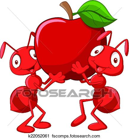 435x470 Clipart Of Two Ants Holding Red Apple K22052061