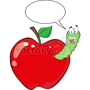 300x300 Royalty Free 4939 Clipart Illustration Of Happy Worm In Red Apple