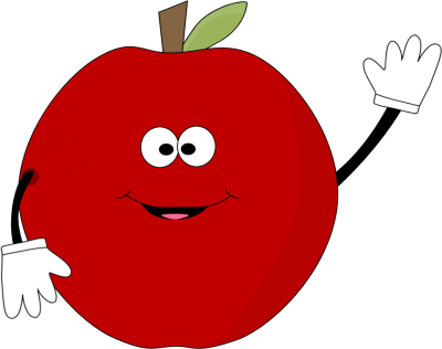 400x316 Waving Red Apple Clip Art