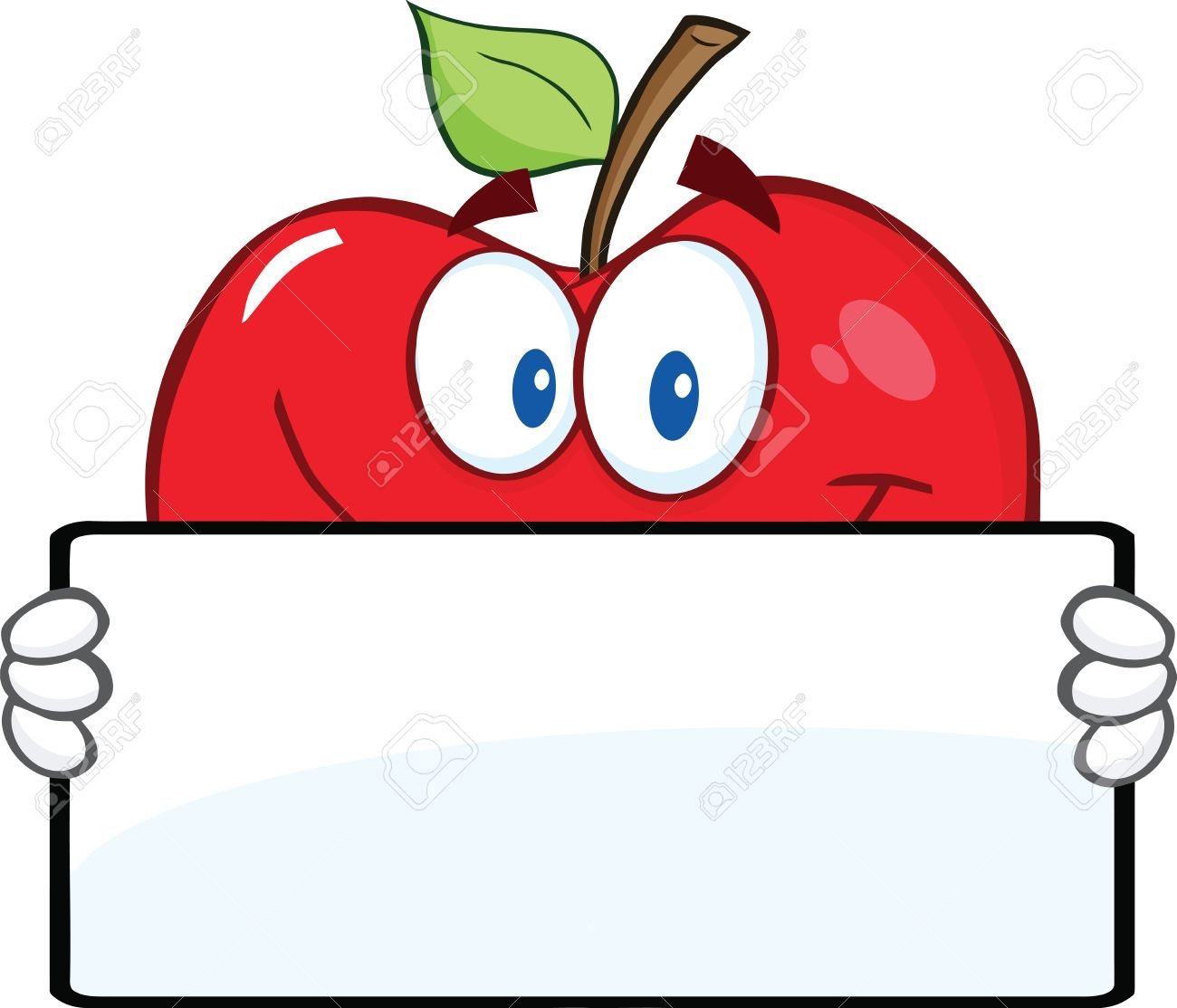 1300x1113 Smiling Red Apple Character Holding A Banner Royalty Free Cliparts