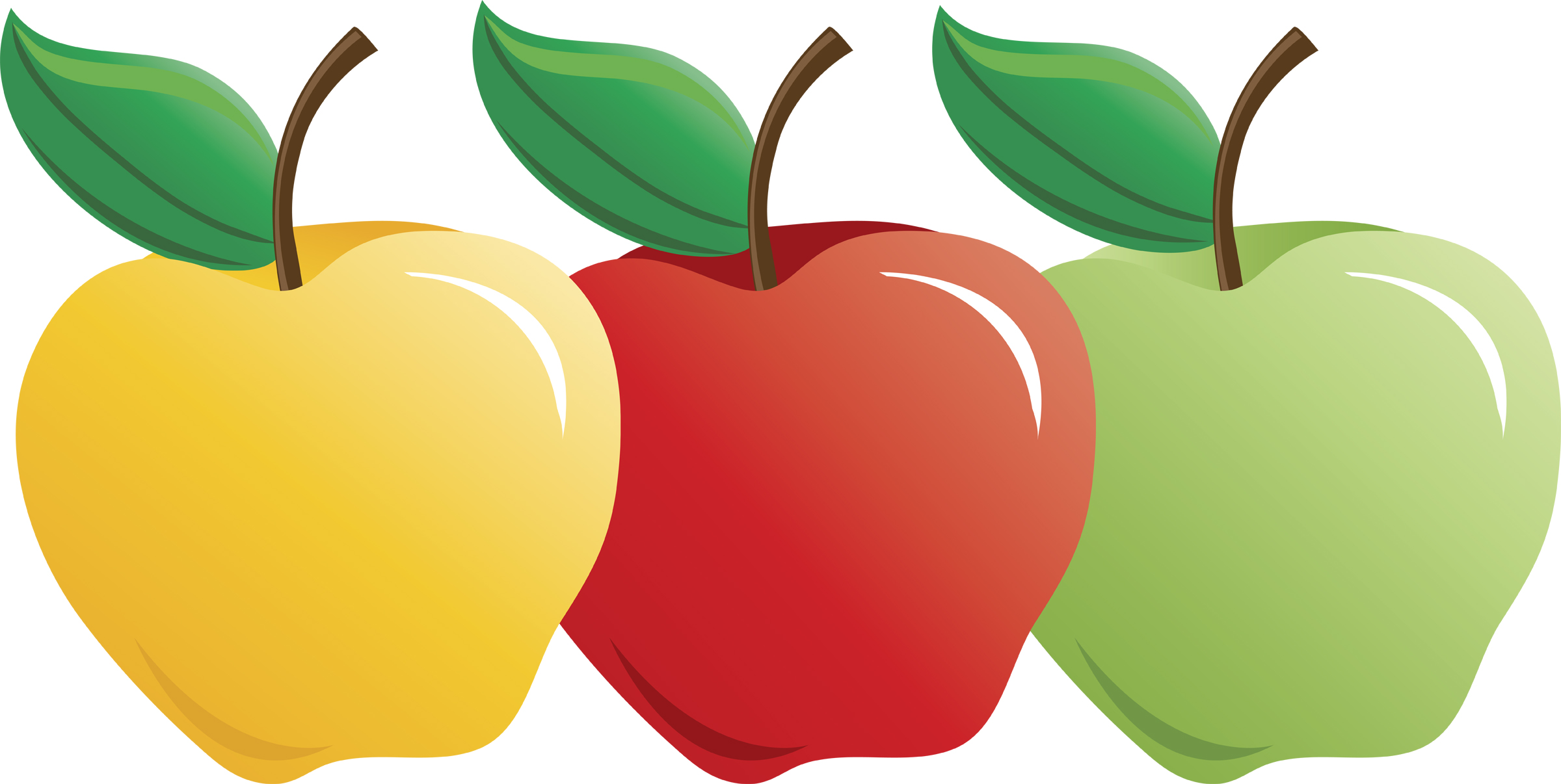 2400x1206 Apple Clipart Red Apple