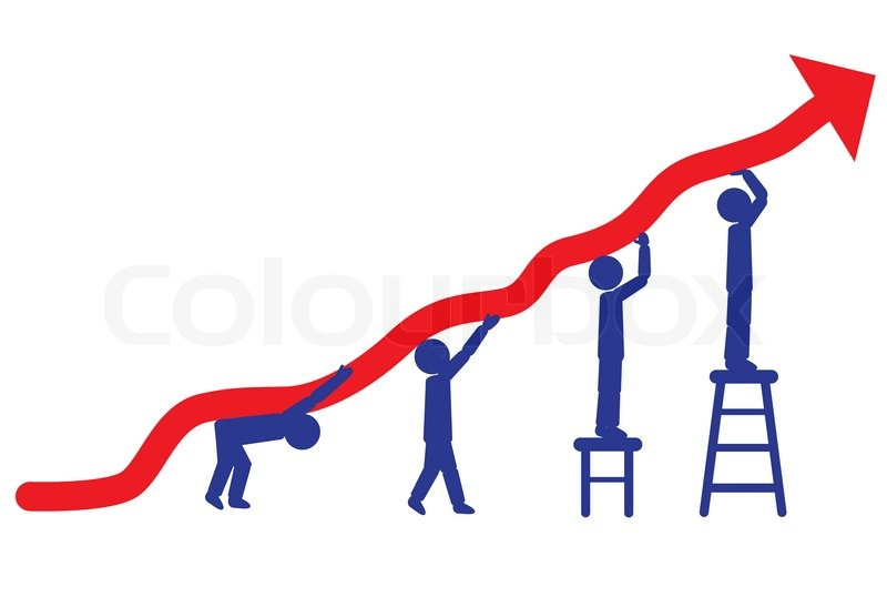 800x547 Graphic Vector Diagram With Red Arrow Going Up Stock Vector