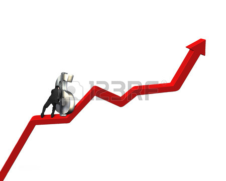 450x360 Moving Up Money Symbol On Going Down Red Arrow Stock Photo