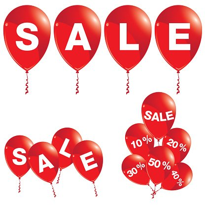 416x416 Red Balloons With Sale Balloons Sale Premium Clipart