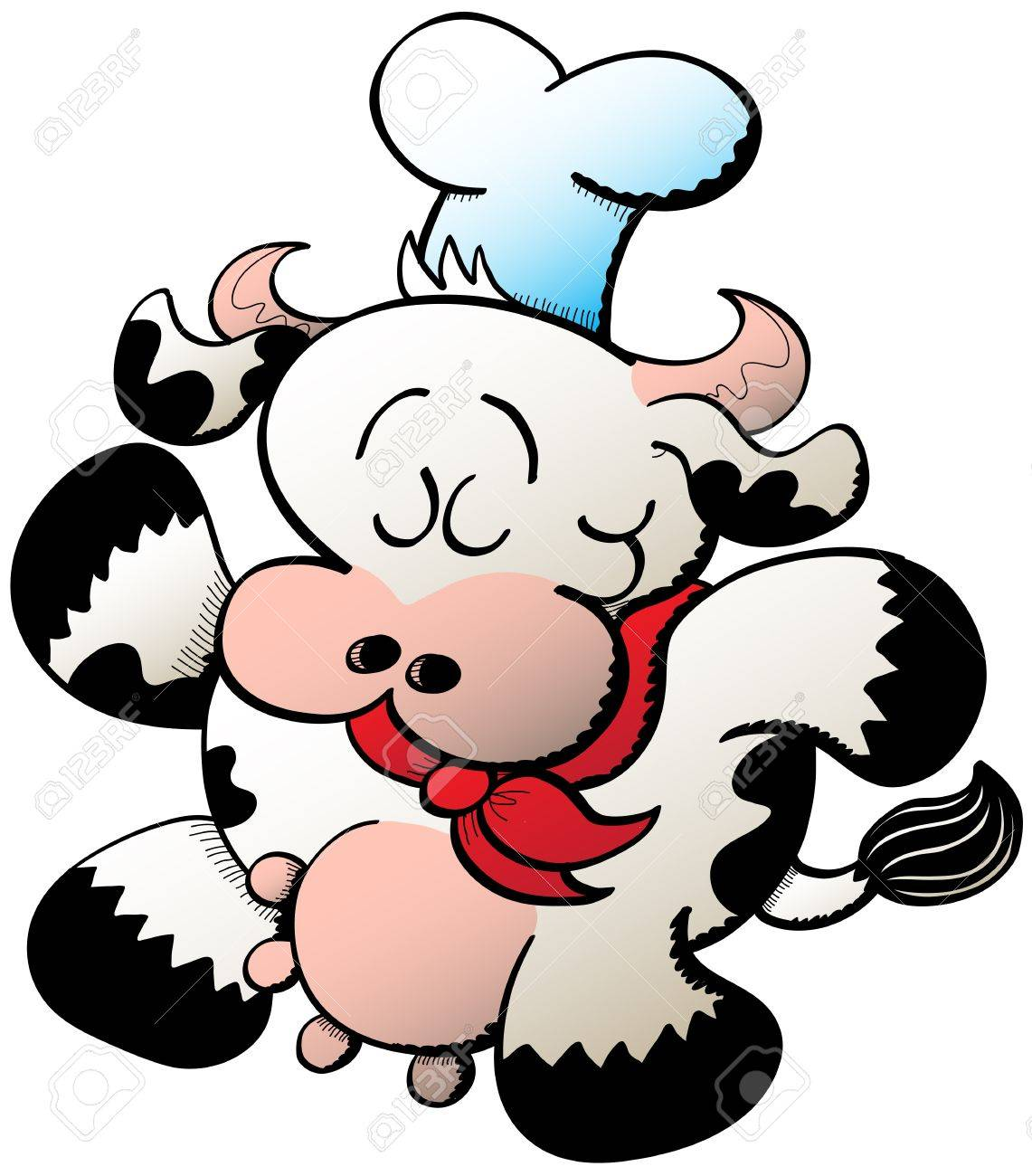 1141x1300 Little Chubby Cow Wearing Chef Accessories Like A Hat And A Red