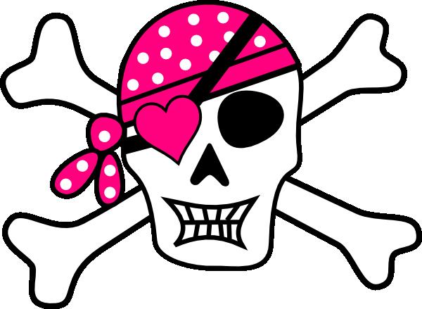 600x439 Pink Pirate Cross Bones Clip Art