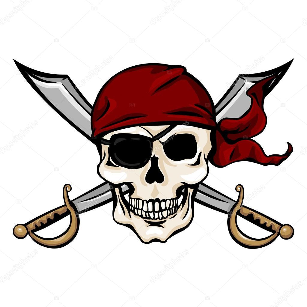 1024x1024 Pirate Skull In Red Bandana With Cross Swords Stock Vector