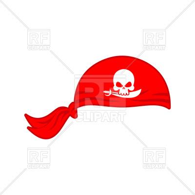 400x400 Pirates Red Bandana Cap Isolated Royalty Free Vector Clip Art