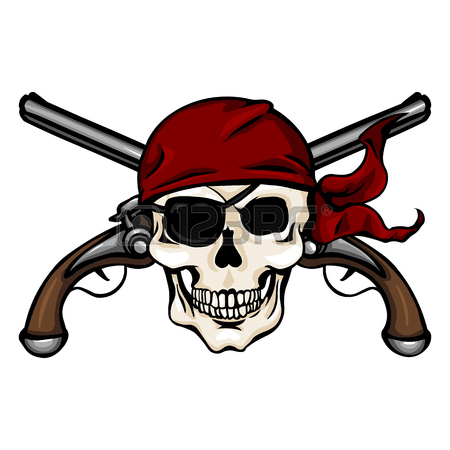 450x450 Vector Single Cartoon Pirate Skull In Red Headband With Cross