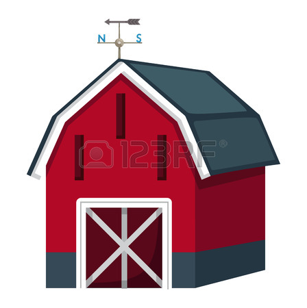 448x450 Illustration Of A Red Barn House On A White Background Royalty