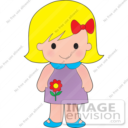 450x450 Clip Art Graphic Of A Blond Haired Poppy Character Girl With A Red