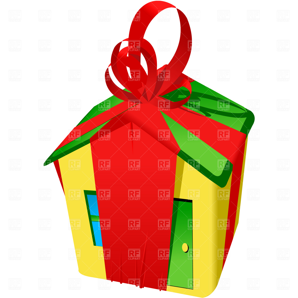 1200x1200 Yellow House With Red Bow Royalty Free Vector Clip Art Image