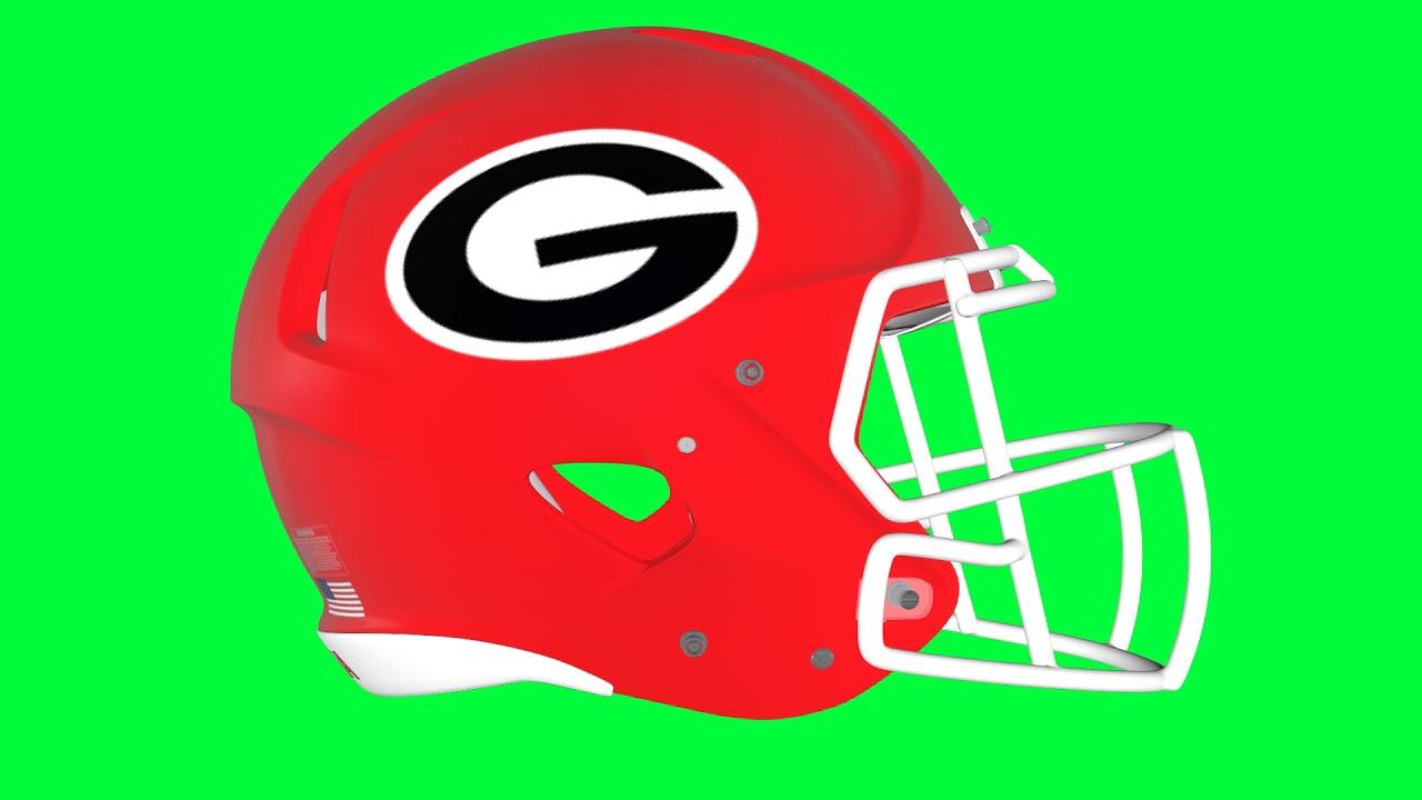 1280x720 Georgia Bulldogs Helmet Green Screen Logo Loop Chroma