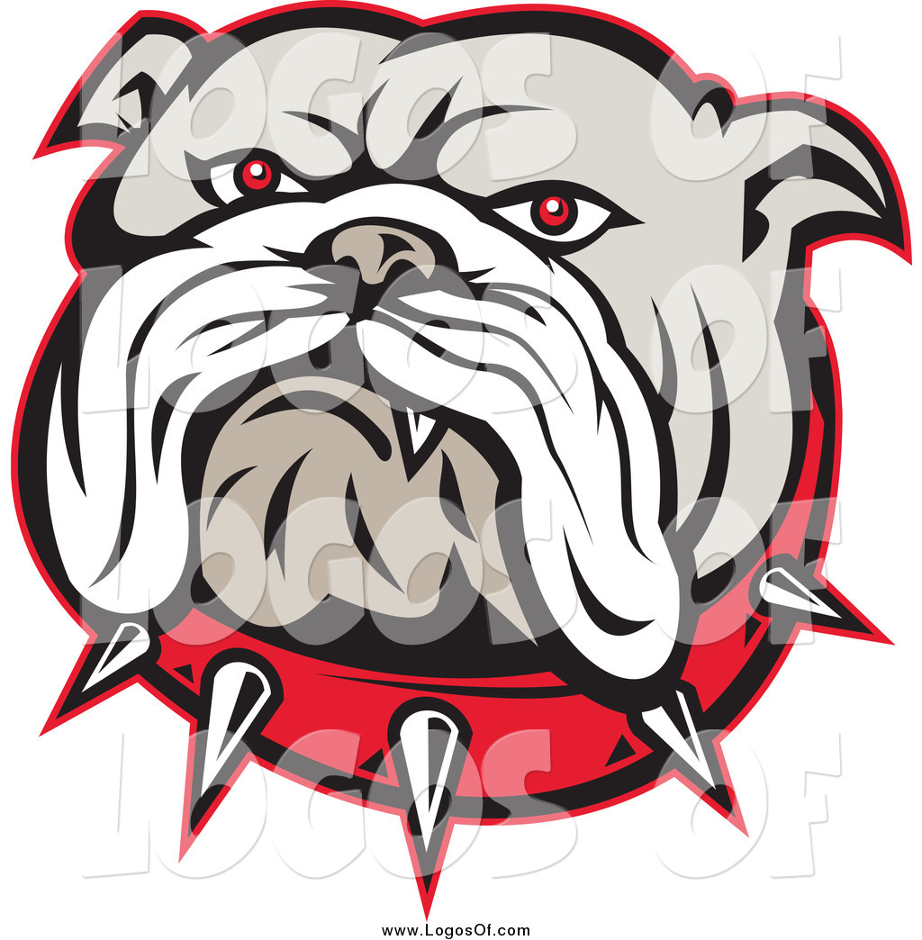 1024x1044 Vector Clipart Of An Angry Red Eyed Bulldog Face And Spiked Collar