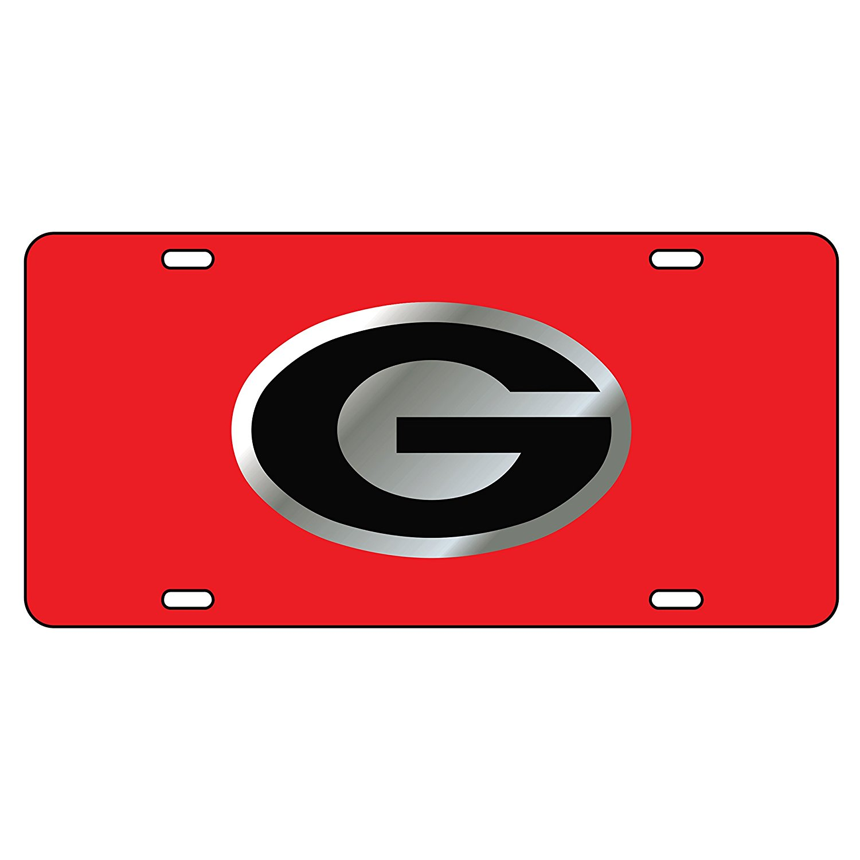 1500x1500 Georgia Bulldogs Black Car Tag Wsilverred Logo G
