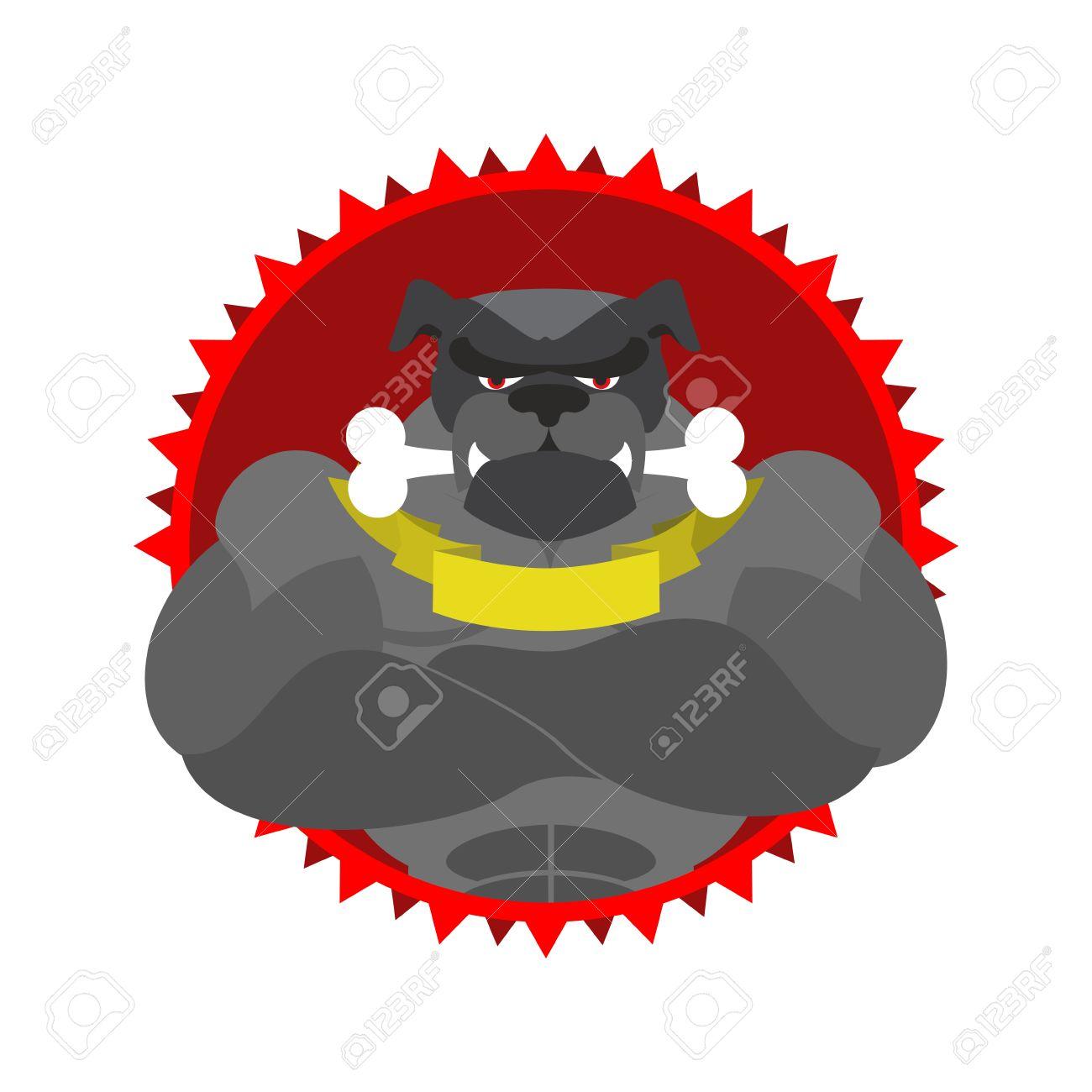 1300x1300 Angry Dog Round Emblem. Large Bulldog Bodybuilder With Bone